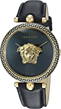 Versace Women's Palazzo Empire Yellow Gold Swiss-Quartz Watch with Leather Calfskin Strap, Black, 16 (Model: VCO020017)