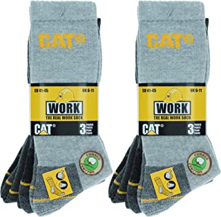 Caterpillar 6 Pairs Men's Work Socks Accident Prevention Reinforced Heel and Toe Yarn of Excellent Quality Cotton Sponge