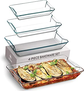Superior Glass Casserole Dish Set - 4-Piece Rectangular Bakeware Set, Modern Unique Design Glass Baking-Dish Set - Grip Ha...