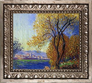 overstockArt Antibes, View of Salis by Claude Monet with Versailles Silver Frame Hand Painted Oil Reproduction