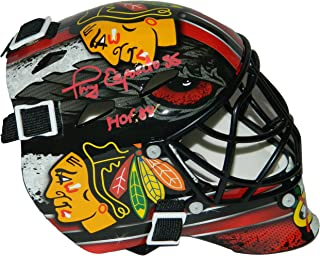 Tony Esposito Signed Chicago Blackhawks Mini Hockey Goalie Mask w/HOF'88