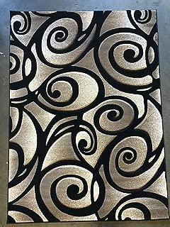 Modern Area Rug Door Mat Sculpture Design#S 241 Black(2ftx3ft.4in.)