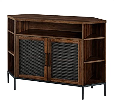 """Modern Metal Mesh Wood Corner Universal TV Stand with Open Shelves Cabinet Doors Storage for TV's up to 55"""" Flat Screen Living Room Storage Entertainment Center, 48 Inch, Walnut Brown"""