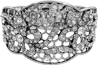 Gypsy Jewels Filigree Flowers Large Statement Fancy Rhinestone Bling Chunky Hinged Bangle Bracelet - Assorted Colors