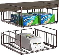 2 Pack - SimpleHouseware Under Shelf Basket, Bronze