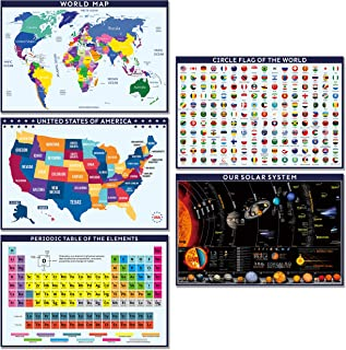 5 Pack - World Map for Kids + United States USA Map + World Flags + Periodic Table of The Elements + Solar System Poster f...