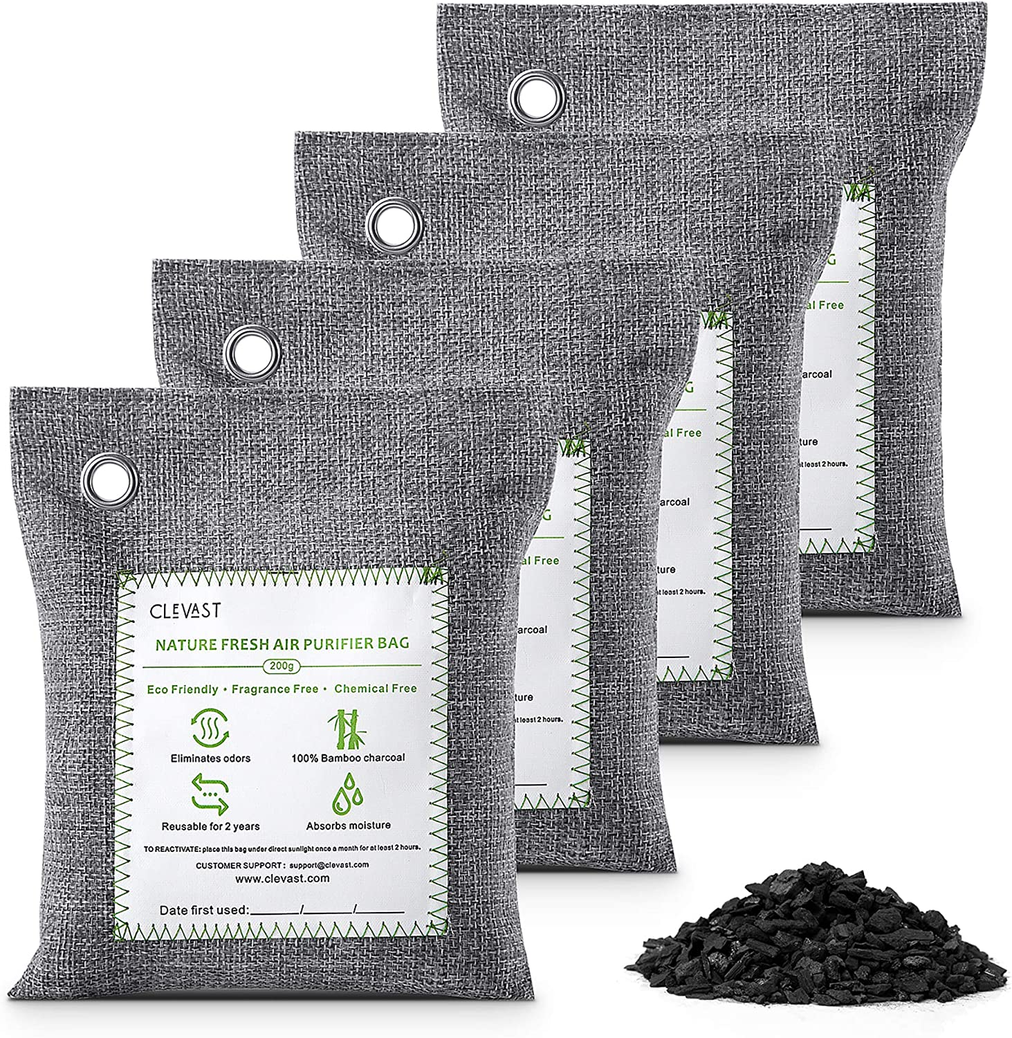 CLEVAST Max 54% OFF Large-scale sale Bamboo Charcoal Air Removes Bags Purifying 4×200g