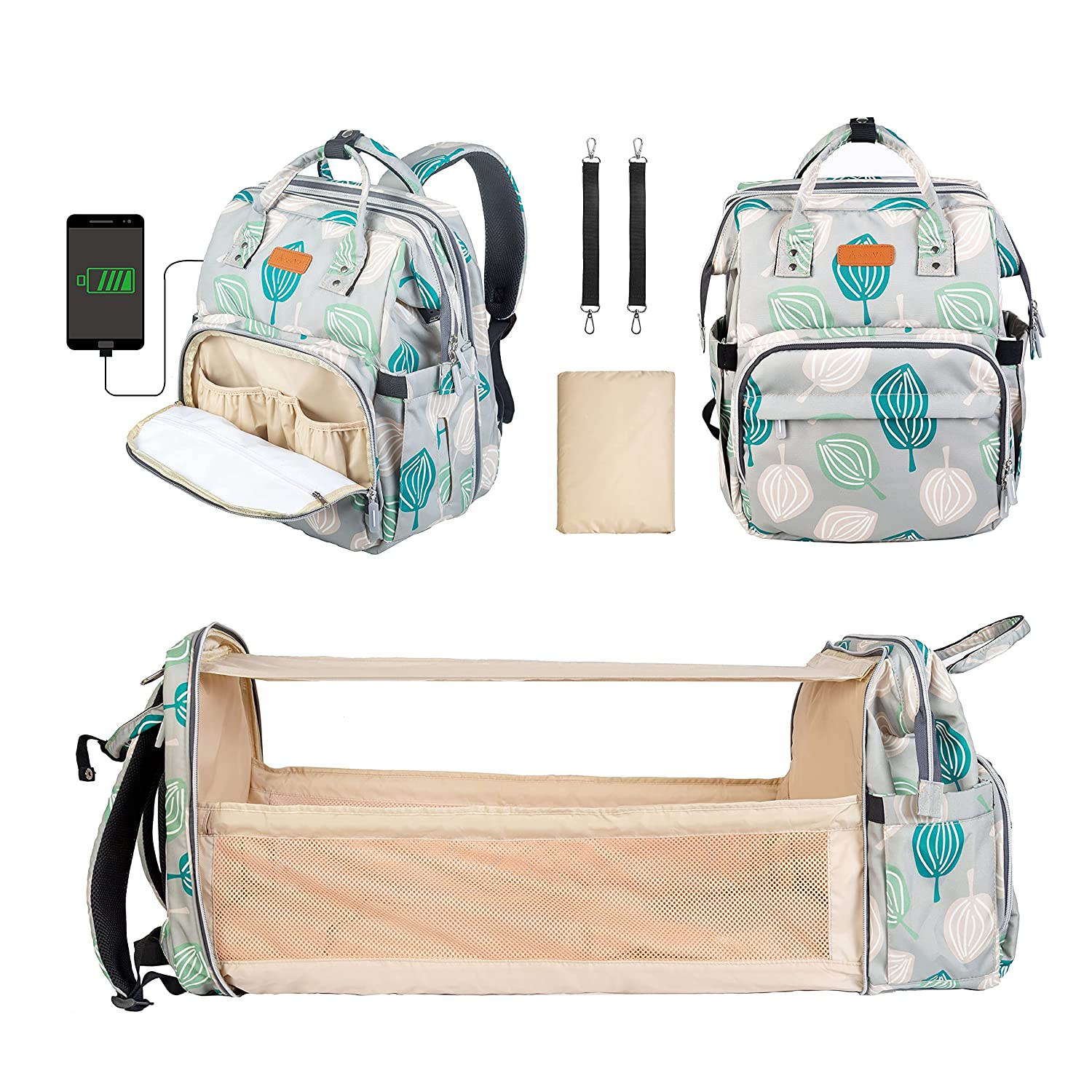 Accevo Diaper Bag Backpack, Large Capacity Baby Nappy Changing Bag, Waterproof Multifunction Maternity Travel Back Pack with Changing Pad & Stroller Straps,Mattress Foldable Baby Travel Bassinet Bed