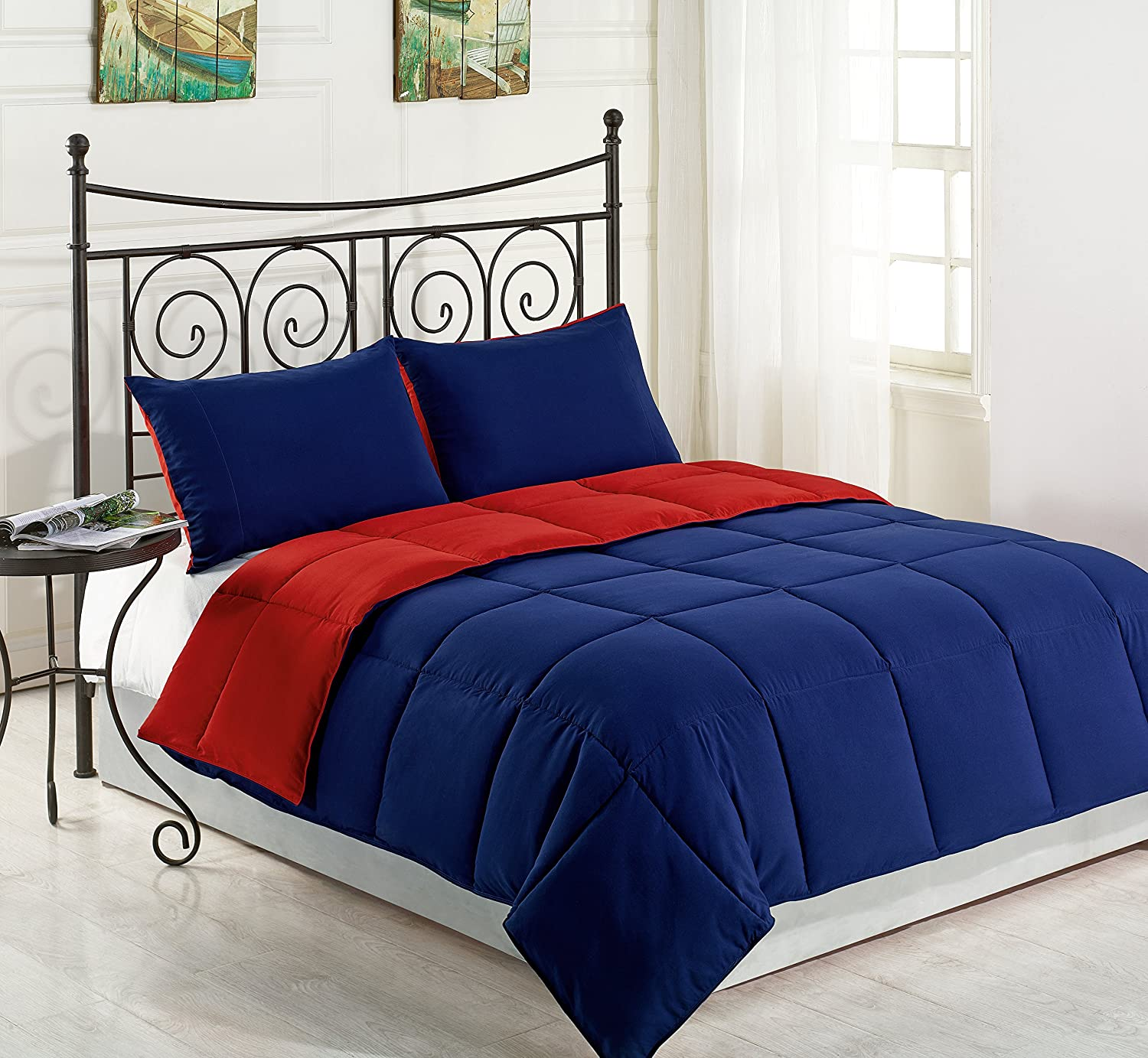 Cozy Beddings Comforter Set, Reversible Down Alternative, Box Stitch Bed Cover, King, bluee Red