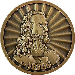Jesus Coin, Head of Christ by Warner Sallman Challenge Coin, KJV Bible Verse Prayer Token, Antique Gold Plated Catholic an...