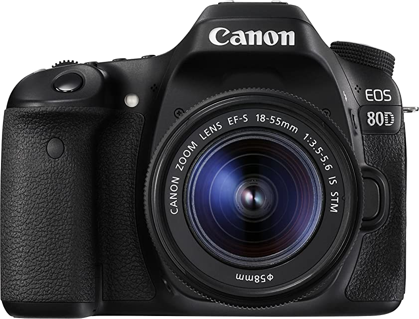 Canon EOS 80D - Cámara réflex digital de 24.2 MP (pantalla táctil de 3 video Full HD enfoque automático WiFi) negro - kit cuerpo con objetivo Canon EF 18 - 55 mm f/3.5 - 5.6 IS (versión importada)