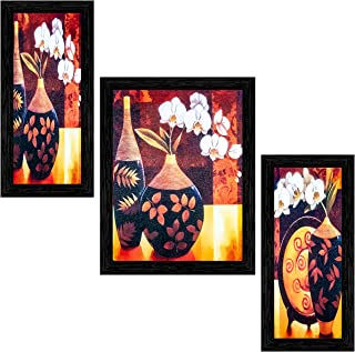 Indianara Framed Wooden Hanging Wall Art (Multicolour) Pack of 3
