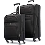 "Transyt Expandable Softside Luggage Set with Spinner Wheels, 2-Piece (20""/28""), Black"