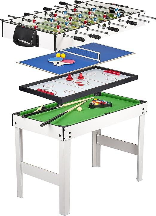 Tavolo multigioco 4 in 1 con biliardo pool, calcetto, hockey e ping pong, leomark B00LZVQ692
