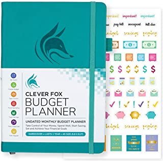 Clever Fox Budget Planner - Expense Tracker Notebook. Monthly Budgeting Journal, Finance Planner & Accounts Book to Take Control of Your Money. Undated - Start Anytime. A5 Size Turquoise Hardcover