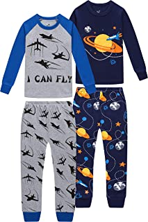 Sponsored Ad - CoralBee Pajamas for Boys Kids Rocket Airplane Sleepwear Baby Girls Clothes 4 Pieces Pants Set
