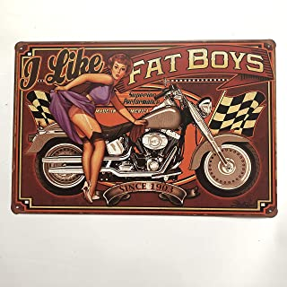 +Urbano I Like Fat Boys Motorcycle Vintage Retro Tin Sign Home Pub Bar Deco Wall Decor Poster Size 8