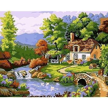 por n/úmero Kits decoraci/ón del hogar 40 x 50 cm Regalo para Adultos y ni/ños Golden Maple Lona de Arce Dorado preimpresa para Pintar al /óleo
