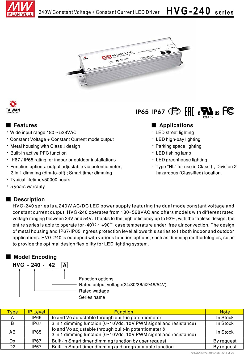 Branded goods Mean Well Original HVG-240-24A Constant Selling and selling Voltage Current