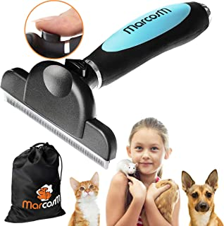 MarcosM Dog Brushes for Shedding Professional Deshedding Tool for Dogs and Cats with Blade and Fur Ejector Button and Drawstring Storage Pouch
