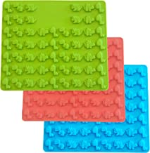 Set of 3 Mini Dinosaur Silicone Candy molds and Gummy Bear Mold, Non-Stick Gummies Chocolate Gelatin Tray –Makes 171 (Blue-Green-Red (3 Pack))