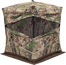 Barronett Ox 4 Ground Hunting Blind, 2 Person Pop Up Portable, Durable Oxhide Fabric, Backwoods Camo