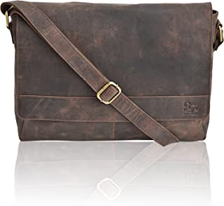 "Leather Laptop Messenger Bag for Men - Premium Office Briefcase 16"" MacBook Professional College Mens Womens Side Bags (Brown Crazy Horse)"