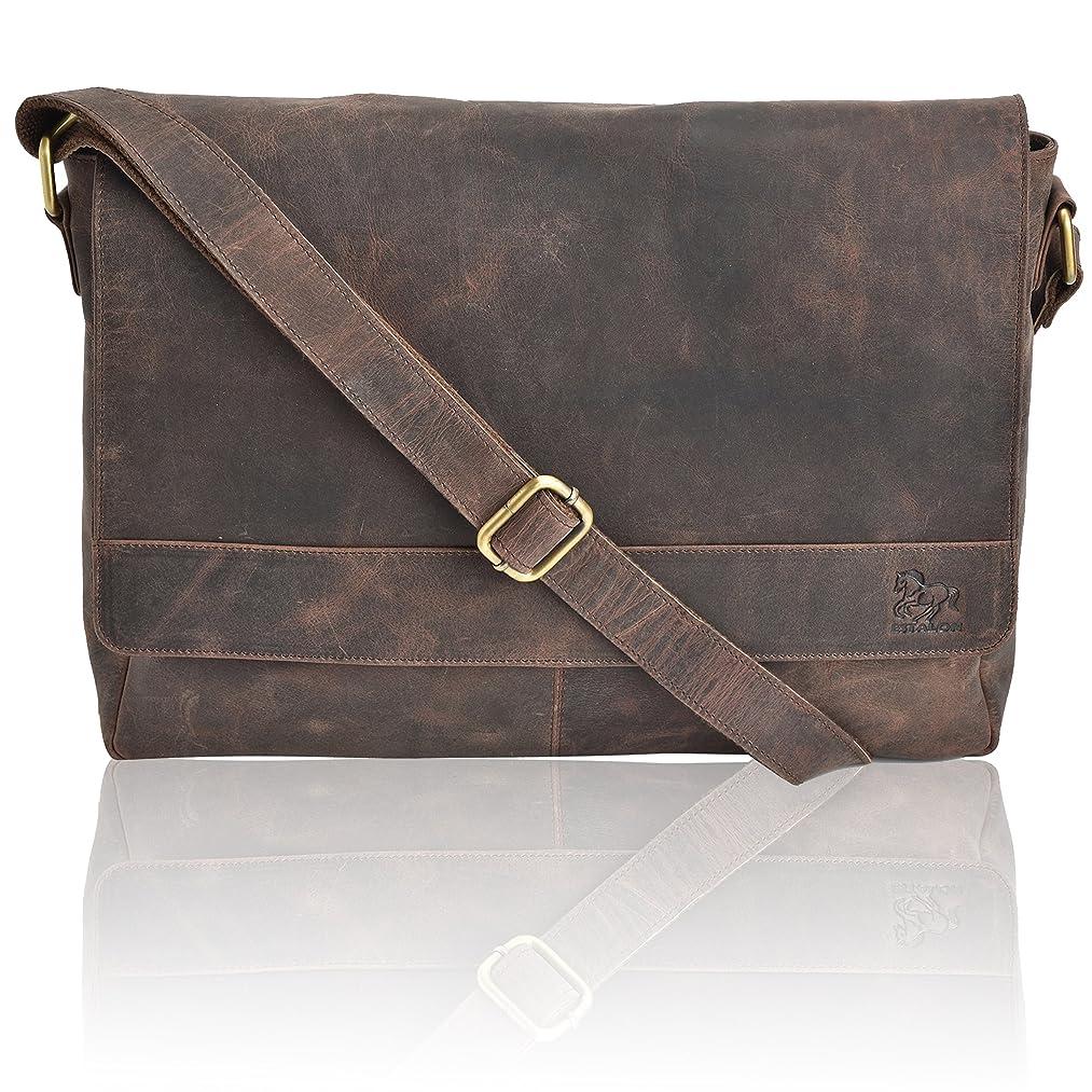 Leather Laptop Messenger Bag for Men - Premium Office Briefcase 16