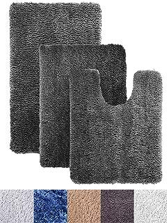 Luxe Rug Dark Gray Plush Bathroom Rugs Bath Shower Mat Set w Non Slip Microfiber Super Absorbent Rug Alfombras para Baños (3, Dark Gray)