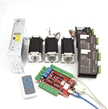 RATTMMOTOR 3 Axis CNC Kit Nema23 Stepper Motor (Dual Shaft) 425oz-in 112mm 3A & Driver 40VDC 4A 128 microstep for CNC Router Milling Engraving Machine