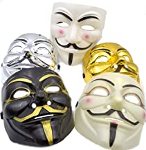 V for Vendetta Mask [5 PACK] Colors as shown - Great for Halloween Costumes (Anonymous/Guy Fawkes) - Mens Mask (Black/White/Gold/Silver/Tan)