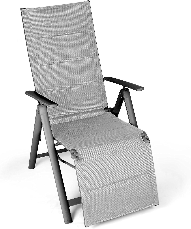 Vanage gepolsterter Gartenstuhl mit Fuableger in grau - Klappstuhl - Hochlehner - Stuhl für Garten, Terrasse und Balkon geeignet