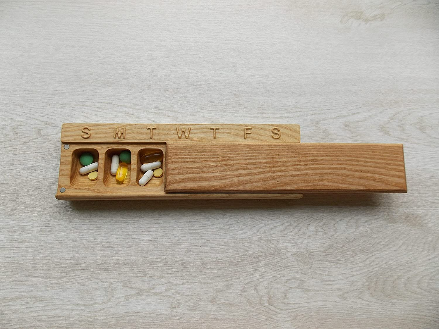 Wooden Pill Box 7 Day Travel beec Our shop most popular Weekly Decorative 3D Sale special price