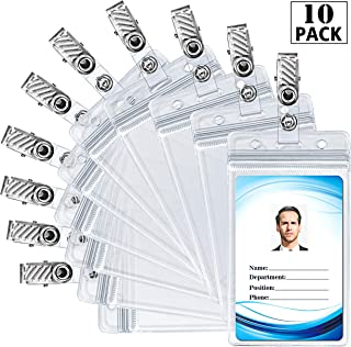 ID Badge Holder with Metal Badge Clips – Waterproof Sealable Clear Plastic Vertical ID Card Holder for Work ID, Key Card, Driver's License (Vertical 10 Pack)