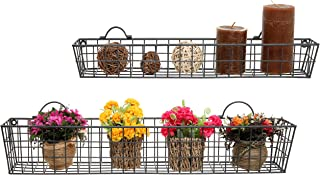 Set of 2 Gray Country Rustic Wall Mounted Openwork Metal Wire Storage Basket Shelves / Display Racks