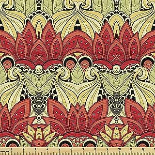 Lunarable Batik Fabric by The Yard, Batik Blooms Motif in Colors Ornate Nature Inspired Boho Style Floral Image, Decorativ...