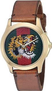 Gucci - Reloj Análogo clásico para Unisex de Cuarzo con Correa en Cuero YA126497