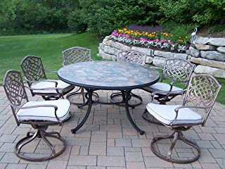 Oakland Living Tuscany Stone Art 54-Inch Table, 7-Piece Swivel Chair Dining Set with Cushions