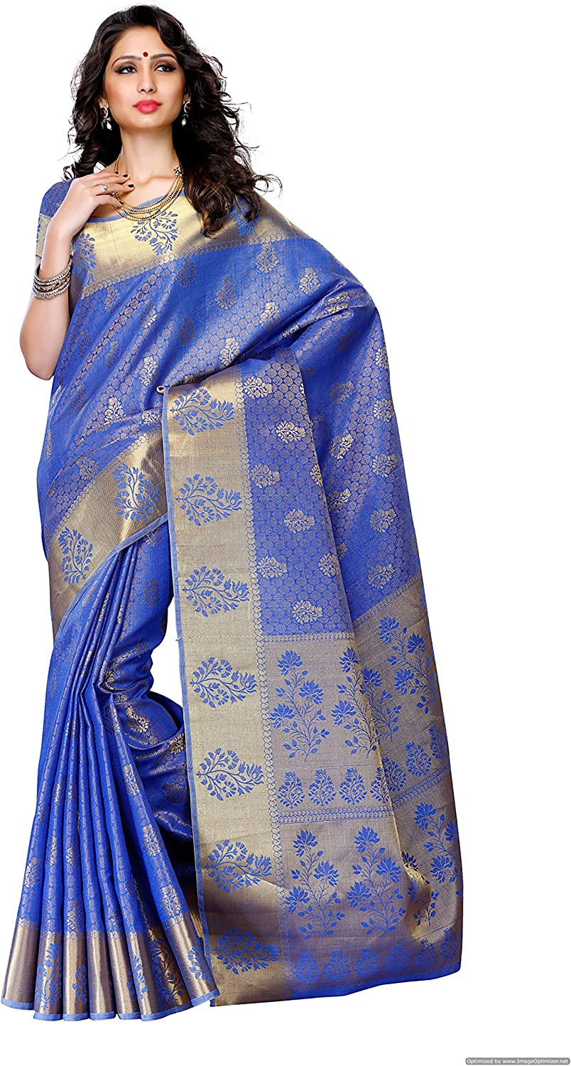 MIMOSA Women's Tassar Silk Saree with Blouse Piece (178Rblue,Royal bluee,Free Size)
