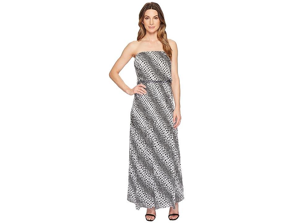MICHAEL Michael Kors Bias Flower Maxi Dress (Black/White) Women