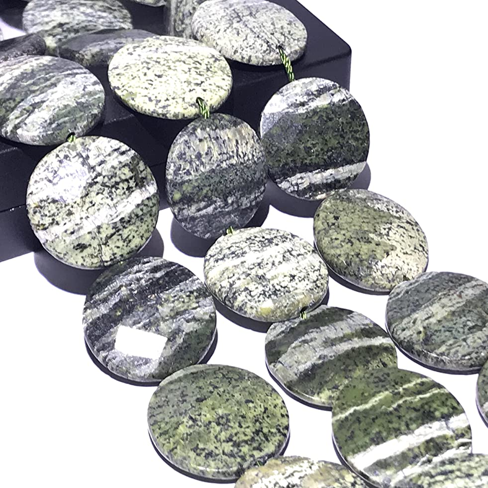 [ABCgems] Brazilian Chrysotile AKA Silver Leaf Serpentine (Beautiful Silvery Zebra Matrix) 18mm Faceted Coin Beads for Beading & Jewelry Making p008671475