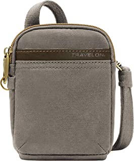 Travelon Anti-Theft Courier Mini Crossbody, Stone Gray, One Size