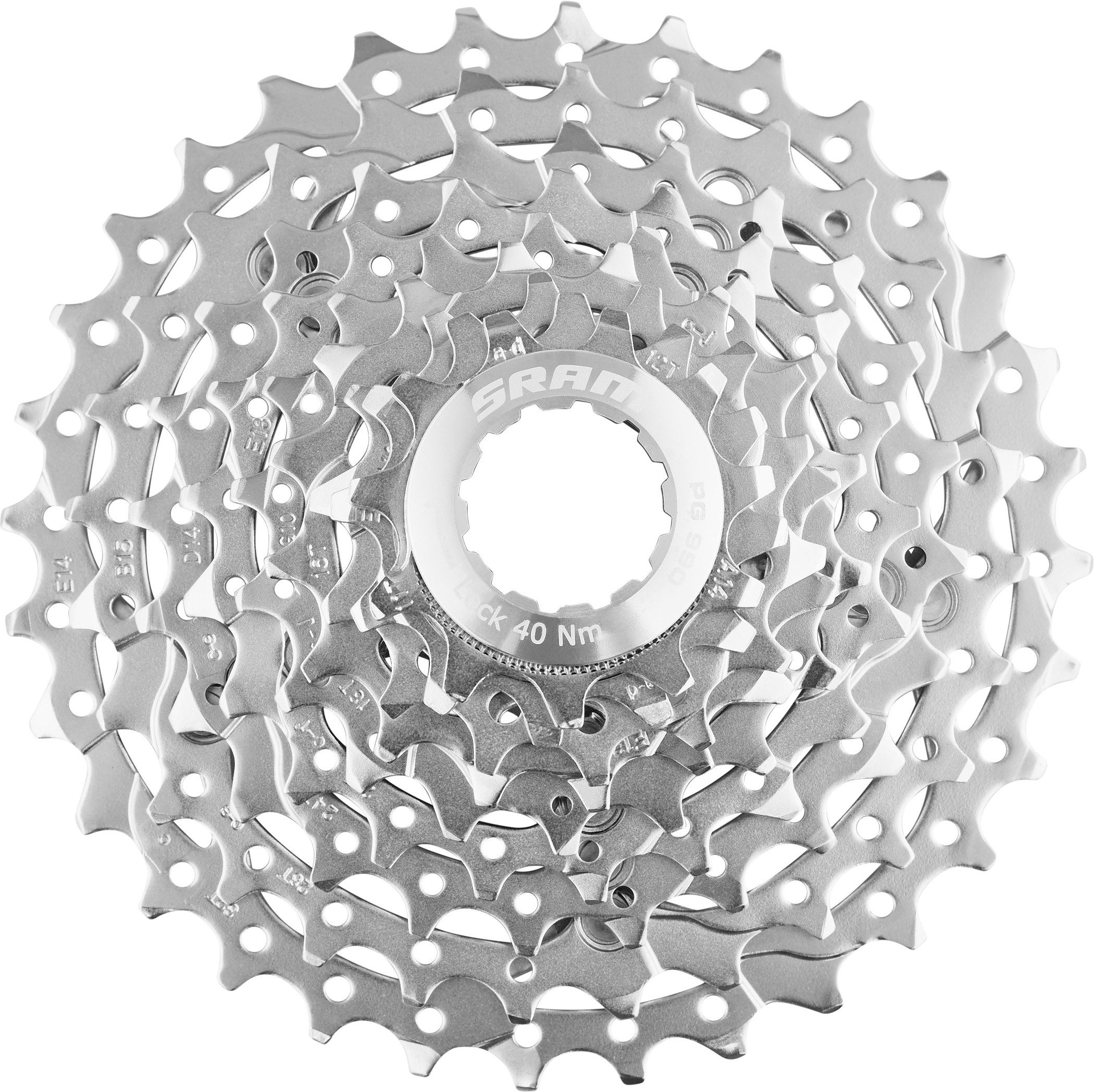 9 Speed 11-32t SRAM PG-990 Cassette With Red Spider Silver