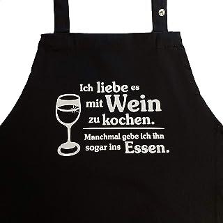 Grillkönig Ich Liebe es mit Wein zu Kochen. Manchmal gebe ich ihn sogar ins Essen. Kochschürze, Latzschürze mit aufgesetzter Seitentasche und verstellbarem Nackenband Geschenk Weinliebhaber schwarz