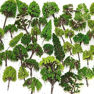 Newone ジオラマ 模型 木 森 材料 キット 鉄道 庭 建物 2~12cm 大小混載 30本セット (緑 混載30本セット)