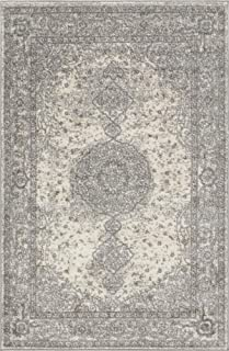 Unique Loom Bromley Collection Vintage Traditional Medallion Border Gray Area Rug (4' 0 x 6' 0)