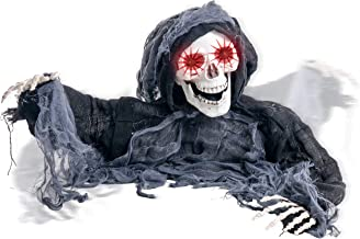Halloween Haunters Animated Skeleton Zombie Grim Reaper Groundbreaker Graveyard Prop Decoration - 2/3 Life-Size, Shaking Head, Moving Arms, Scary Howls, LED Eyes Flash - Haunted House Grave, Tombstone