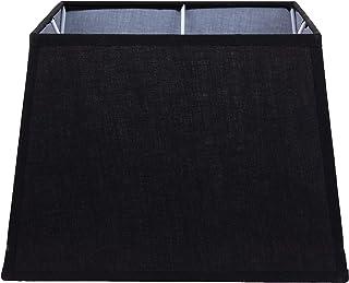 Better & Best Pantalla de lámpara de lino y algodón, cuadrada, de 28 cm, lisa, color negro