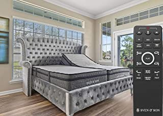 "Sven & Son Split King Adjustable Bed Base Frame + 14"" Luxury Cool Gel Memory Foam Mattress, Head Up Foot Up, USB Ports, Zero Gravity, Interactive Dual Massage, Wireless, Classic (Split King)"