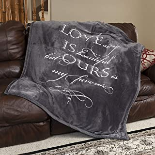 1i4 Group Soft Sentiments Outrageously Soft Reversible Velvet Ultra Plush Throw - 50 x 60 Inch - Love is Ours